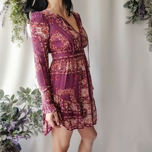 Free People Floral dotted long sleeve dress